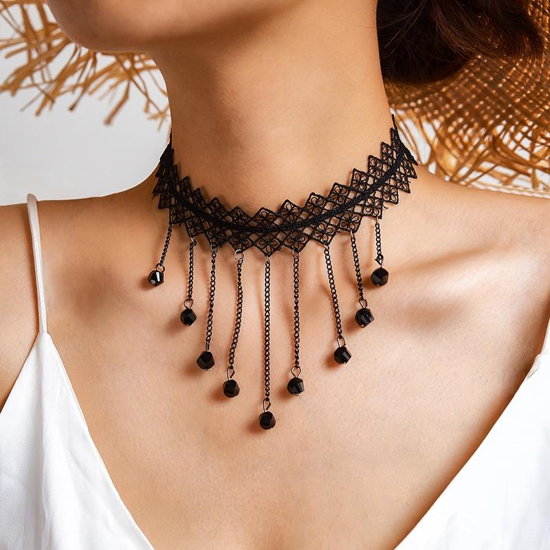 Gargantilla de encaje negra de boda Hua Tang, collares con colgante de cadena de borla de cristal para mujer, Collar de fiesta Vintage, joyería 2020