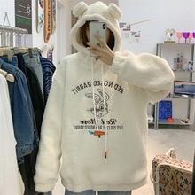 Japanese Rabbit Ears Lamb Wool Sweatshirt Female Winter Ins Loose Korean Boyfriend Idle Style plus V