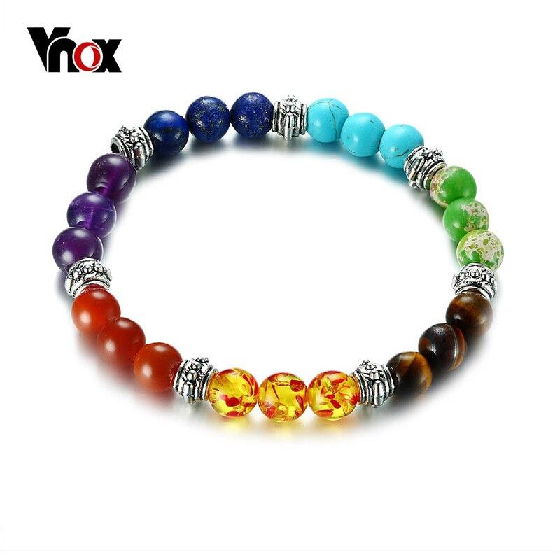 Vnox 7 Чакра браслет для женщин и мужчин красочные Лава исцеления баланс бусины рейки Будда молитва браслет для йоги из натуральных камней юве...
