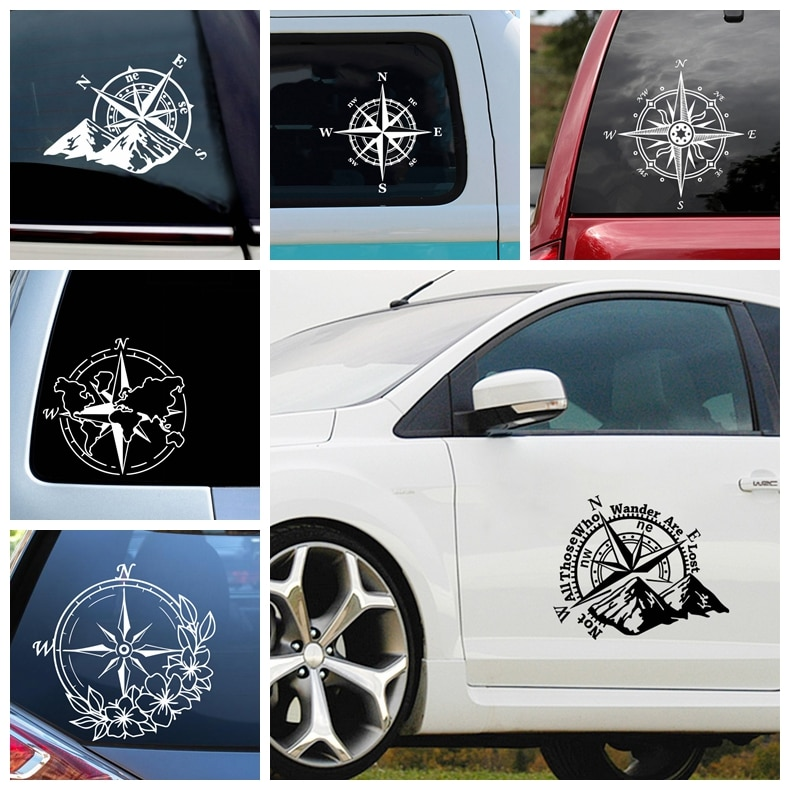 NEW Compass Vinyl Wrap Waterproof Self-Adhesive Removable Car Sticker Scratch Cover Decal Auto Decoration 420 sticker decal self adhesive vinyl body decoration waterproof personality accessories car
