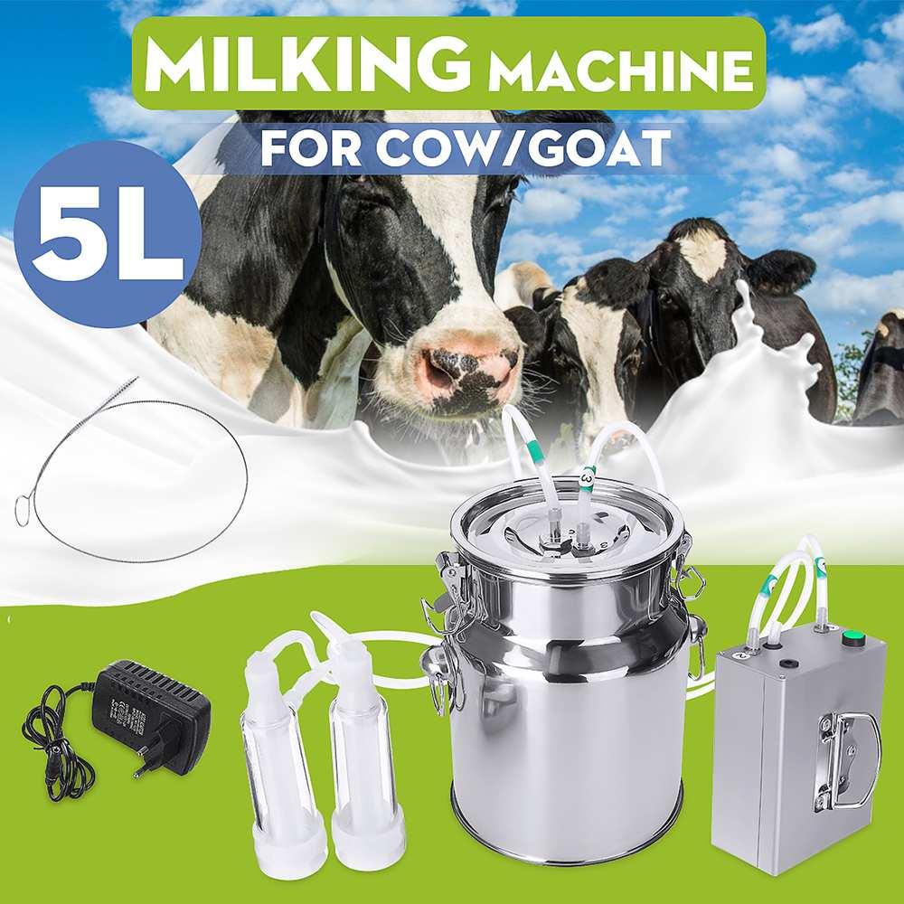 Ordeñador eléctrico de ovejas de cabra vaca 5L 24W, ordeño de acero inoxidable, manguera de silicona de dos cabezas con válvula de restricción
