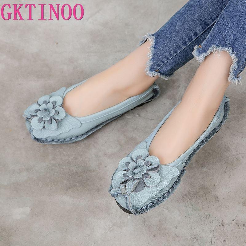 GKTINOO 2021 لينة جلد طبيعي حذاء مسطح المرأة الشقق مع الزهور السيدات أحذية النساء المصممين المتسكعون الانزلاق على