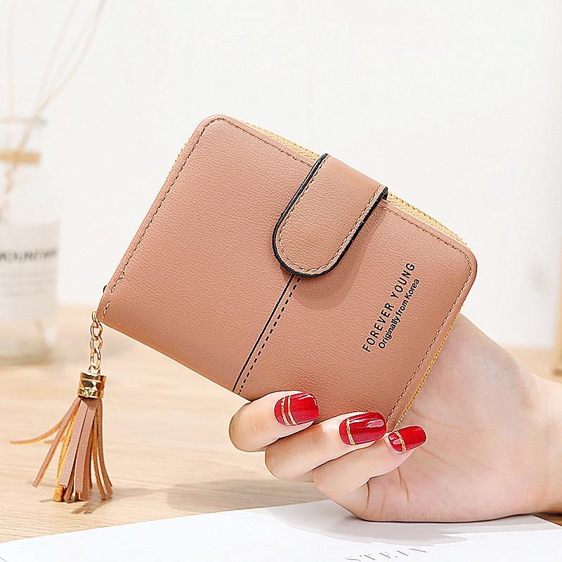 Novo pequeno bonito ferrolho carteira borla feminina carteira senhora curto carteiras de couro com zíper do vintage feminino bolsa embreagem