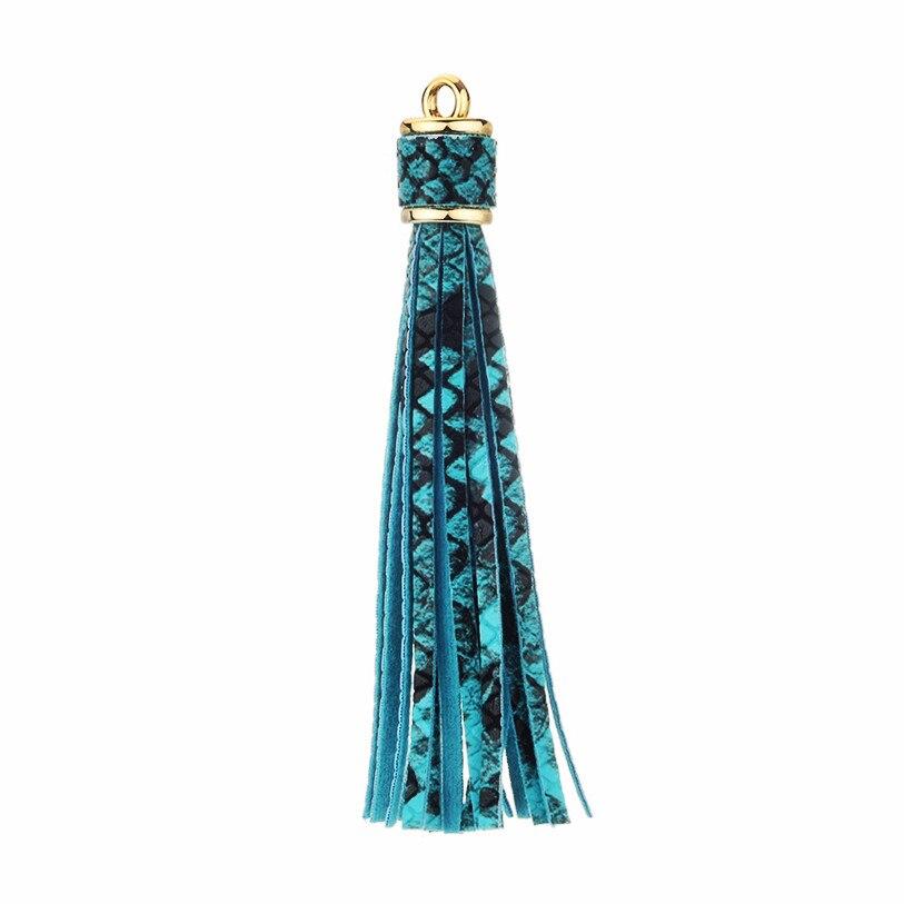 4PCS Faux Leather Snake Grain Tassel DIY Jewelry Keychain Craft Accessories Long Tassels Garment Decoration Pendant Fringe Trim