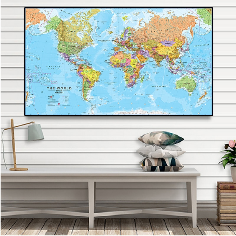 The World Physical Map 225*150cm Non-woven canvas Painting Wall Poster Travel Gift School Supplies Office Home Decoration