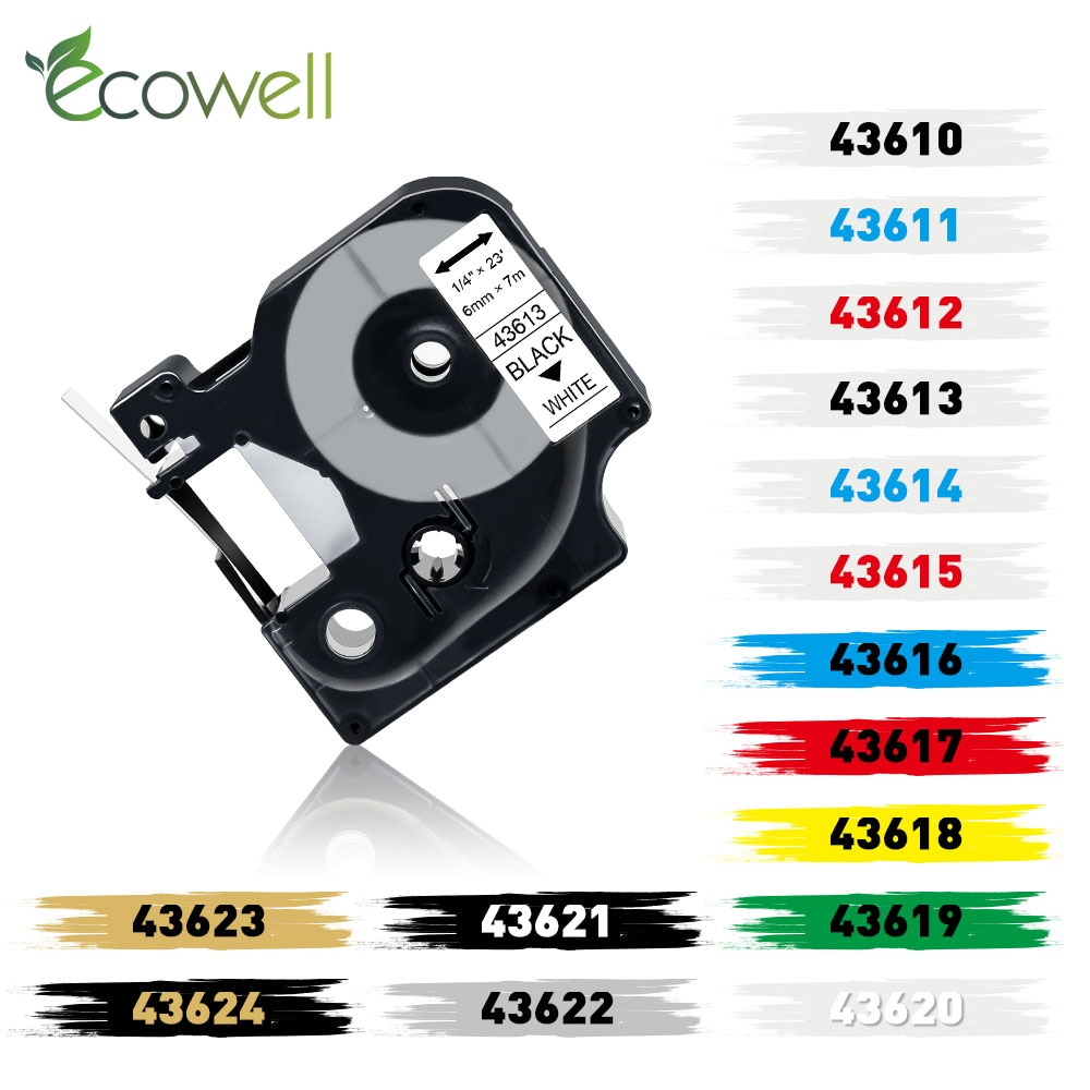 Ecowell 6 мм Разноцветные 43613 43610 картридж с красящей лентой Совместимость для Dymo D1 43613 этикетка Кассета для Dymo Label manager 280 160 420P Ленты для принтеров      АлиЭкспресс