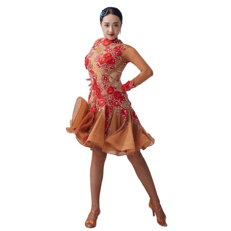 L-2008 الوطنية القياسية فستان أمريكا اللاتينية الصيف موضة مثير عالية الجودة حفلة أنيقة مساء فستان رقص اللاتينية للبيع