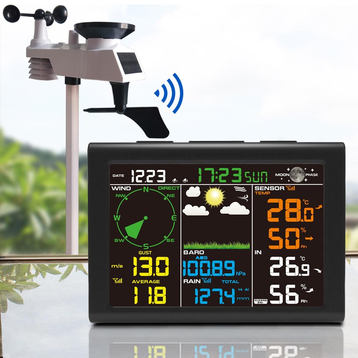 Беспроводная метеостанция для подключения к Wi-Fi, цифровой автоматический радиоконтроль, прогноз прогноза с гигрометром, термометром