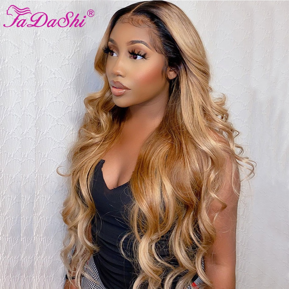Honey Blonde Lace Front Human Hair Wigs With Baby Hair Brazilian Body Wave Lace Front Wig Remy Ombre Human Hair Wig 180 Density