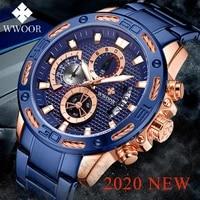 wwoor new blue watches mens 2020 top brand luxury big dial quartz waterproof wrist watch men sport chronograph relogio masculino