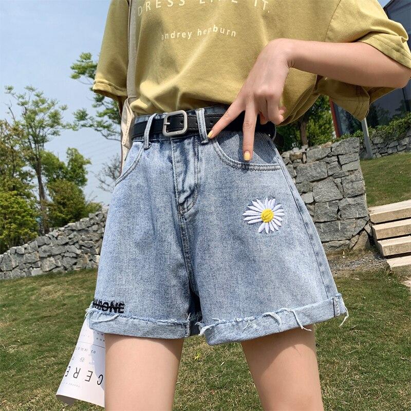 Pantalones cortos de mezclilla de talle alto de talla grande de verano para mujer, pantalones vaqueros cortos acampanados Vintage azules informales lavados coreanos para mujer, 5XL Z261