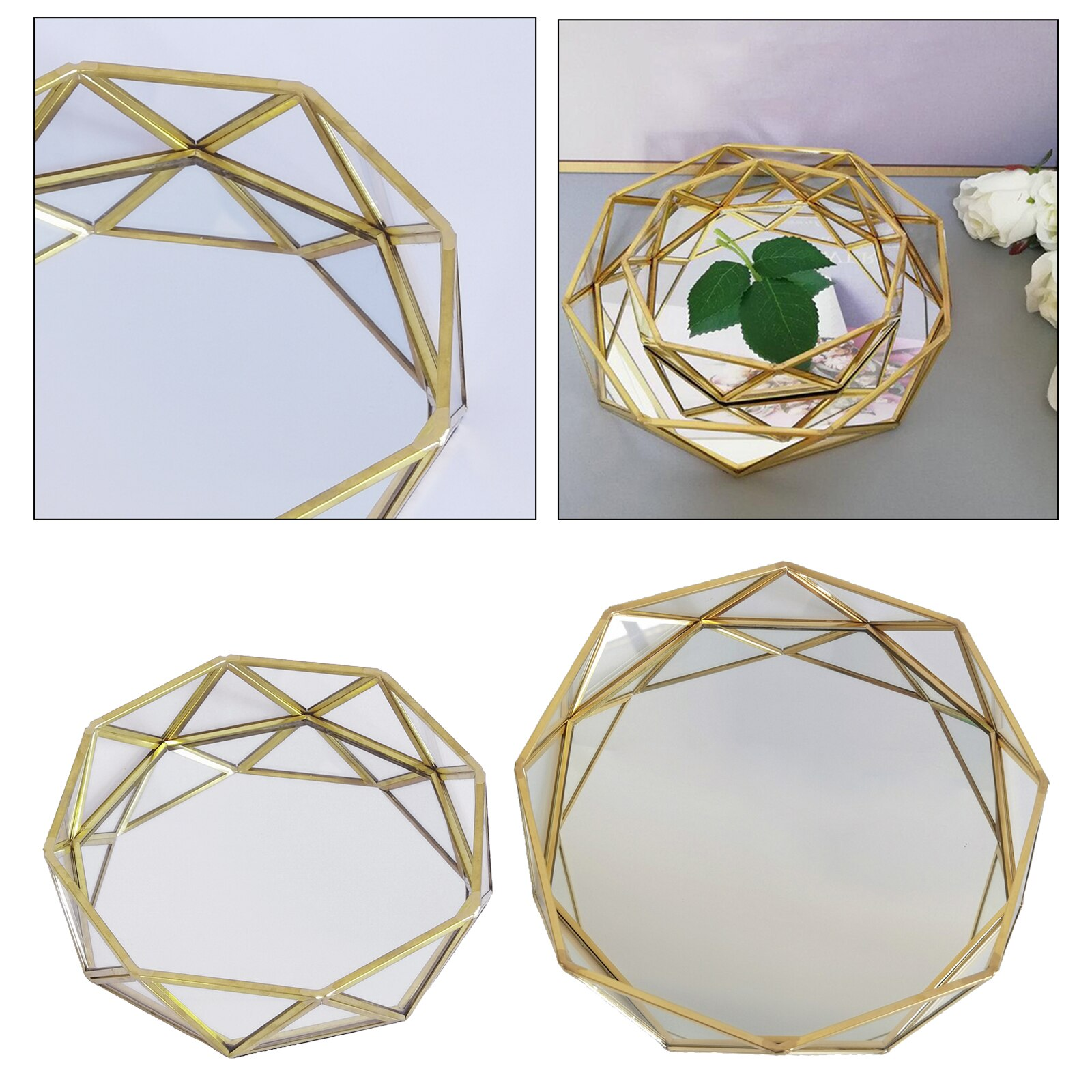 Luxury Mirror Glass Metal Storage Tray Gold Round Plate Desktop Small Items Jewelry Makeup Display Tray Plate