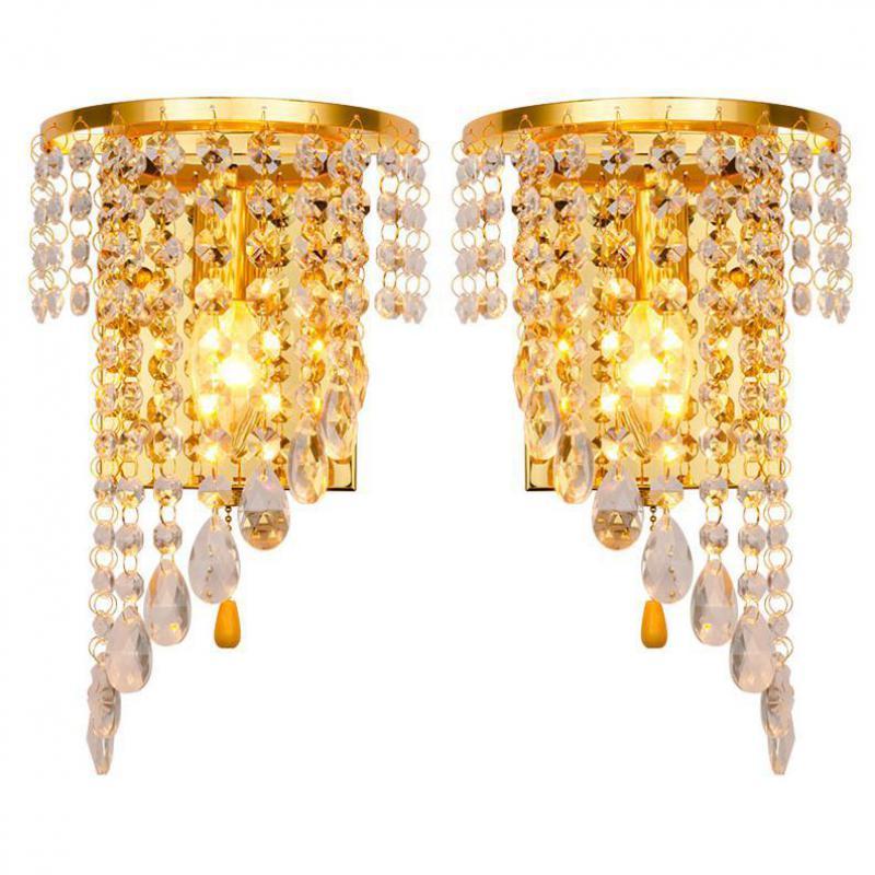 Левый и правый светильник, хромированная Серебряная настенная лампа, золотой фойе, гостиная, спальня, прикроватный настенный светильник, бр...