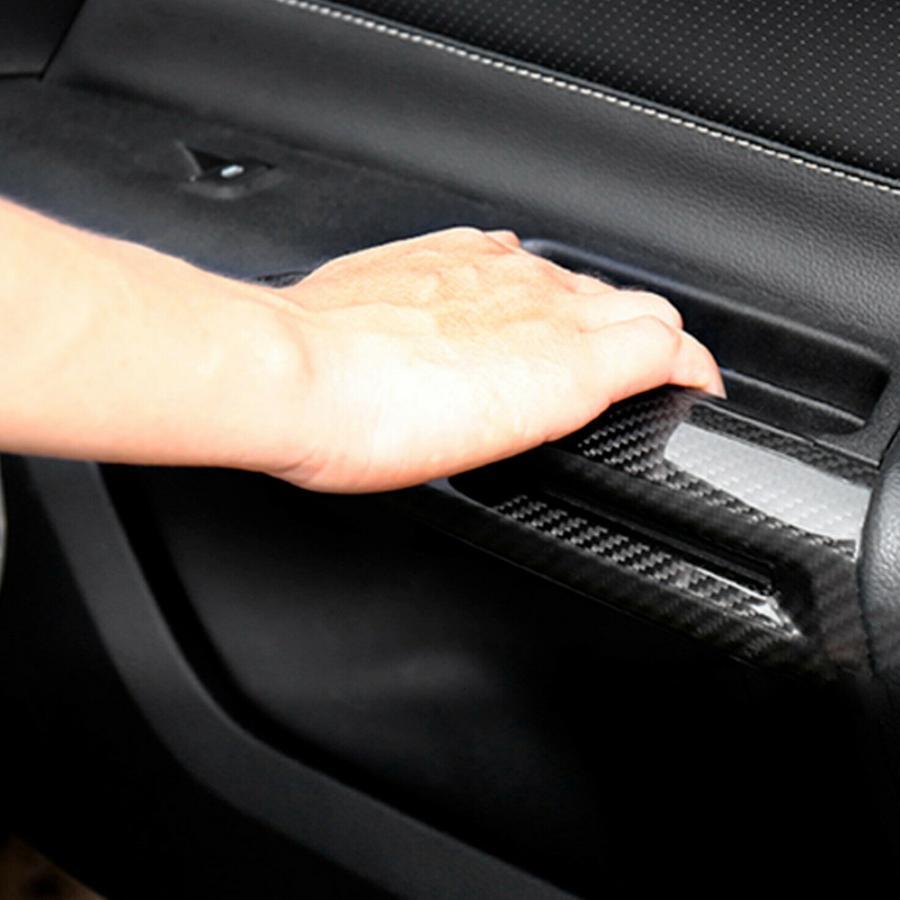 Par de apoyabrazos para puerta Interior de fibra de carbono, cubierta decorativa embellecedora para Ford Mustang 2014 2015 2016 2017 2018, accesorios para automóvil nuevos