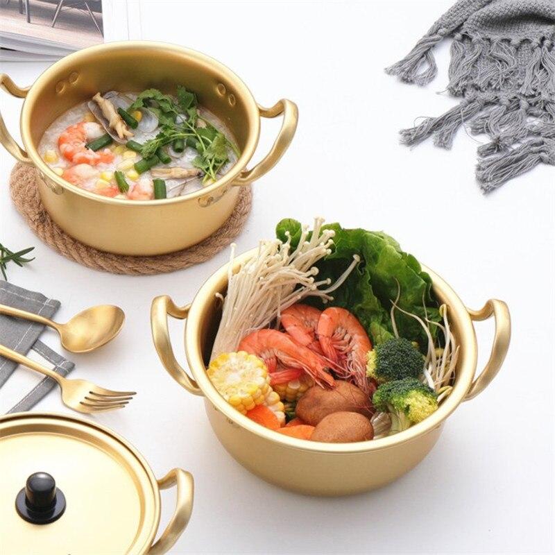 وعاء شوربة كوري إبداعي من الألومنيوم مع غطاء ، للنودلز ، الحليب ، البيض ، وعاء سلطة الإفطار ، أواني المطبخ الذهبية
