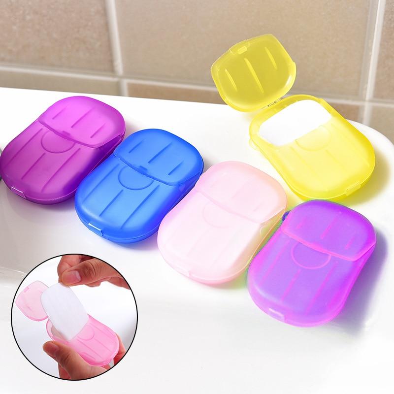 Portable Soap Paper Outdoor Travel WashHand Bath Clean Scented Slice Sheets Mini Paper Soap Disposable Boxes Soaps 20pcs/box