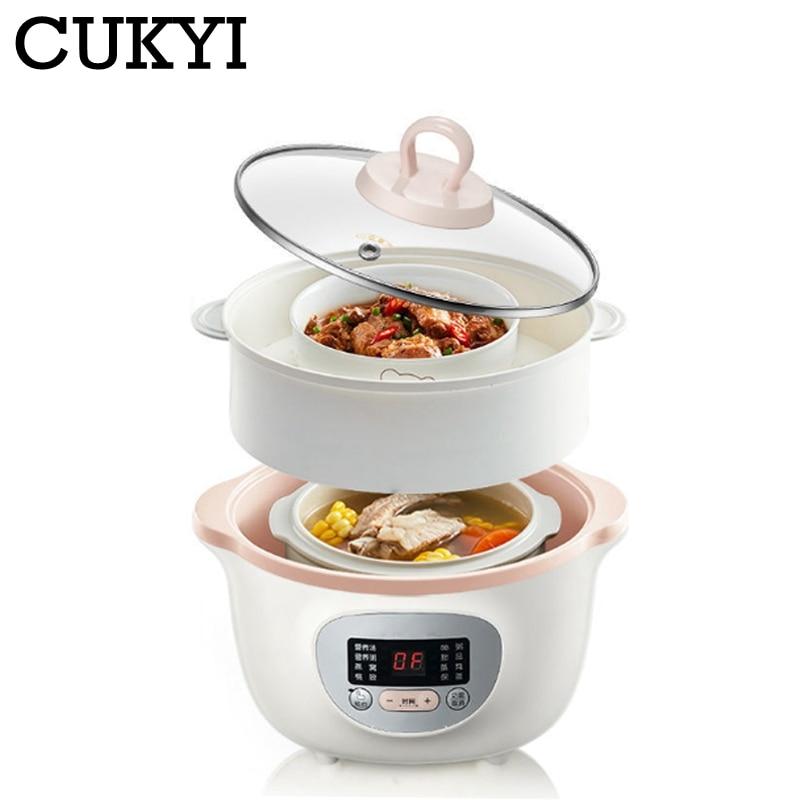 CUKYI 1.6L المنزلية الكهربائية بطيئة طباخ إناء عميق السيراميك إناء للحساء خزفي الإفطار آلة عصيدة تعيين 6 القائمة 220 فولت