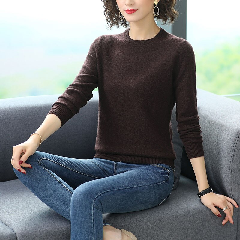 Autumn Winter Women Cashmere Wool Pullover Sweaters Black Gray Camel Beige Soft Warm Basic Knitted Woolen Top Plain Knitwear M L enlarge