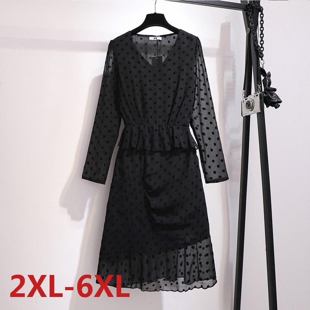 Летнее однотонное длинное платье большого размера в горошек с длинным рукавом, женская одежда большого размера, шифоновые плиссированные п...