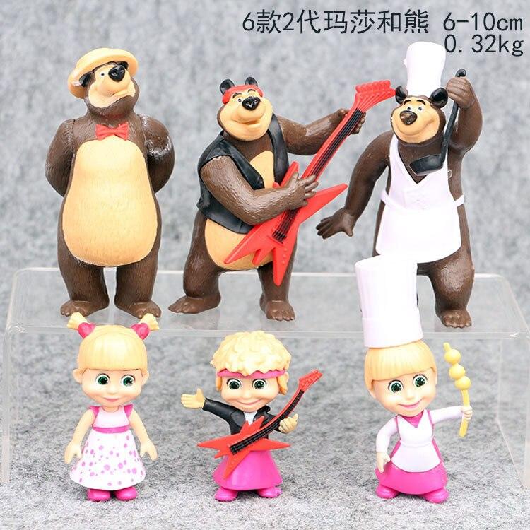 6 unids/set Rusia Masha juguete creativo chef oso muñeca regalo para niños pastel decoración Día de los niños regalo decoración del hogar moldel