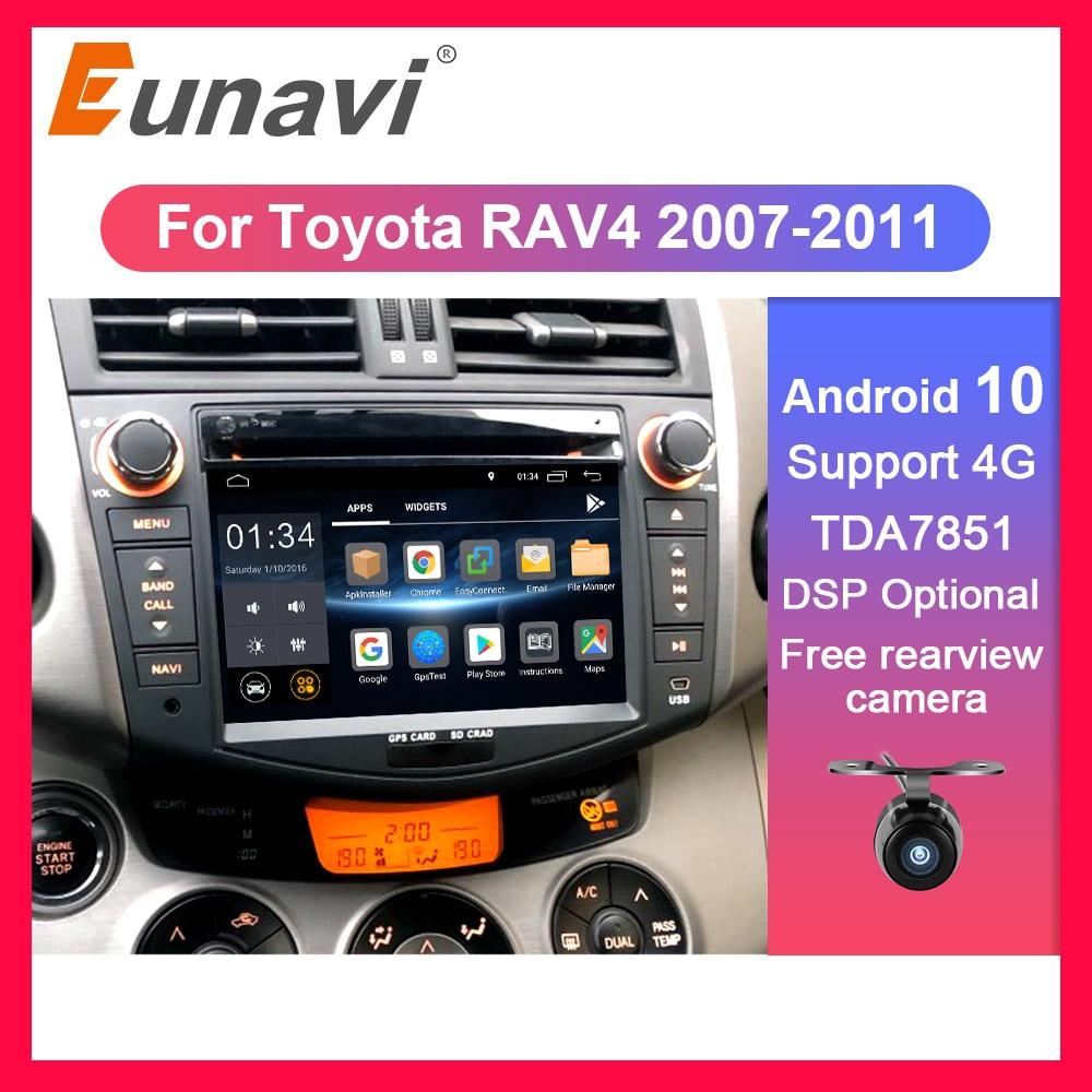 Eunavi 2 din Android 10 TDA7851 auto radio dvd multimedia für Toyota RAV4 Rav 4 2007 2008 2009 2010 2011 steuergerät gps stereo DSP