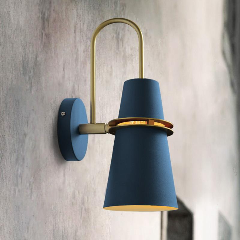 New Nordic wall lamp Bedside E27 LED lamp Bedroom Modern living room Walkway Staircase Simple iron belt Led Wall Light