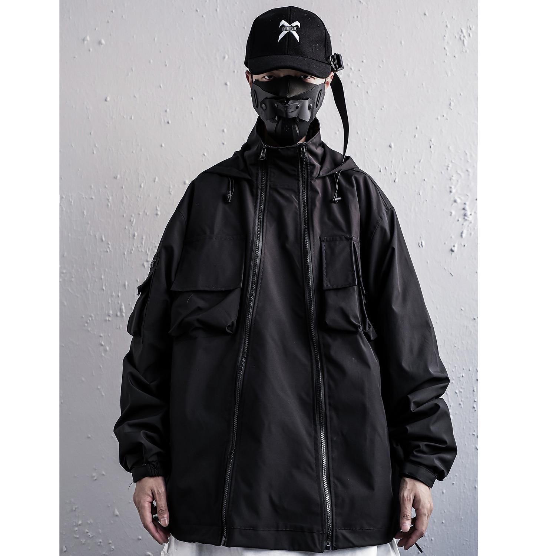 Streetwear Techwear Kanji Schwarz Mit Kapuze Jacke Für Männer