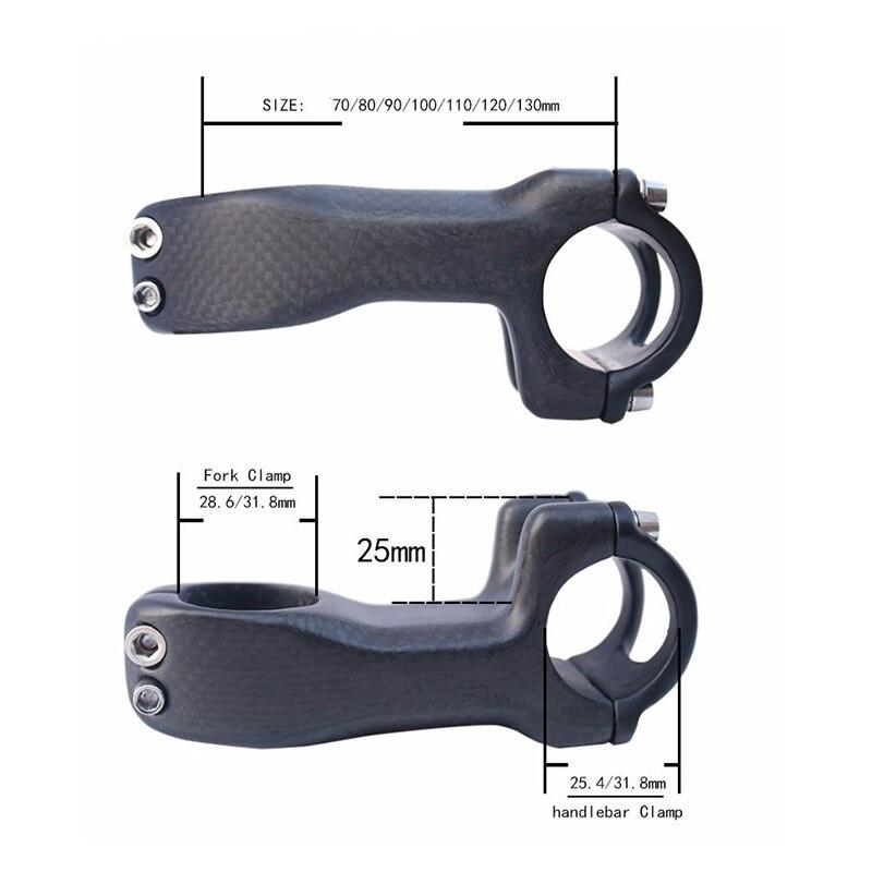 Sin logotipo bicicleta de montaña de carbono completo bicicleta de carretera Stem Frok diámetro 28,6mm/31,8mm manillar 25,4mm/31,8mm longitud 70mm-130mm