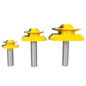3Pcs 1/4Inch Shank 45 Degree Angle Lock Miter Router Bit Set Joint Router Bits Milling Cutter Woodworking Cutting Tool