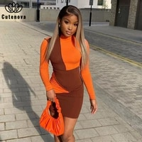 cutenove sexy party club bodycon dresses for womens 2021 summer clothing patchwork long sleeve mixi dress female streetwears
