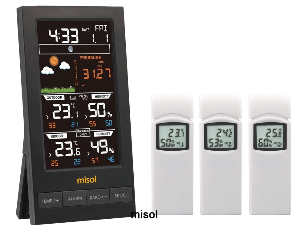 MISOL /1 قطعة misol محطة الطقس اللاسلكية مع 3 مجسات ، 3 قنوات ، شاشة ملونة