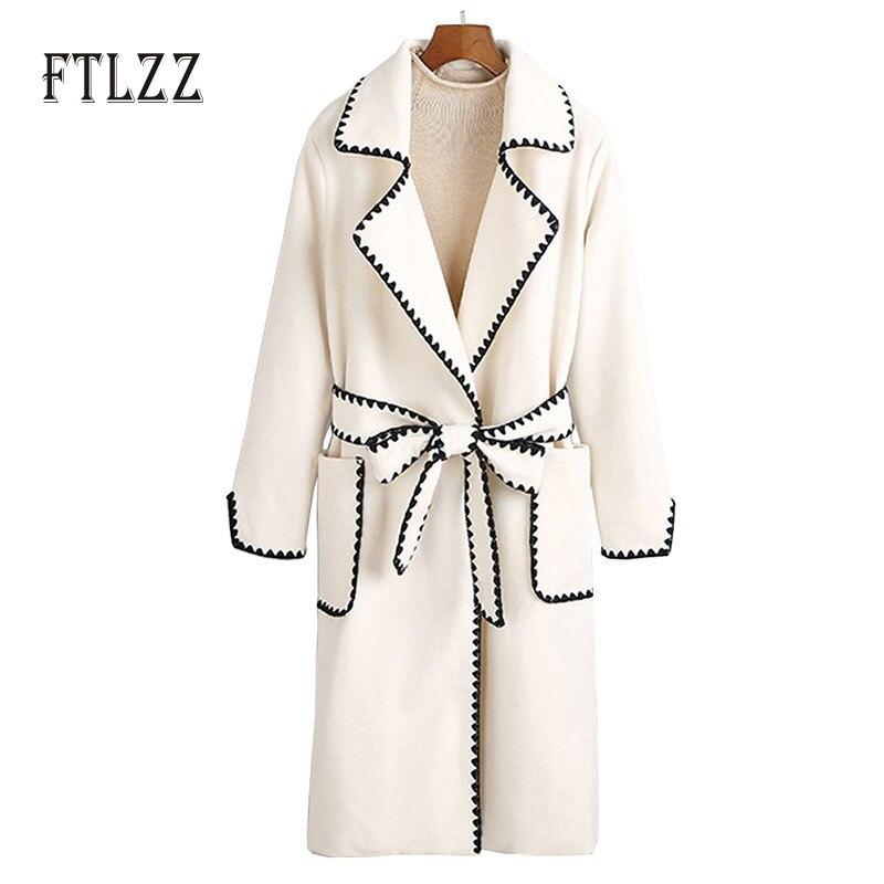 Moda feminina streetwear blend coat 2019 inverno feminino novo feminino médio longo turn-down colar de lã pano com cinto casaco