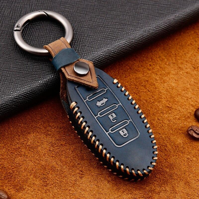 Leather Car Key Case For Nissan Qashqai Tiida J10 J11 X-Trail t31 t32 chutes Murano Note juke Infiniti Keychain Protector Bag