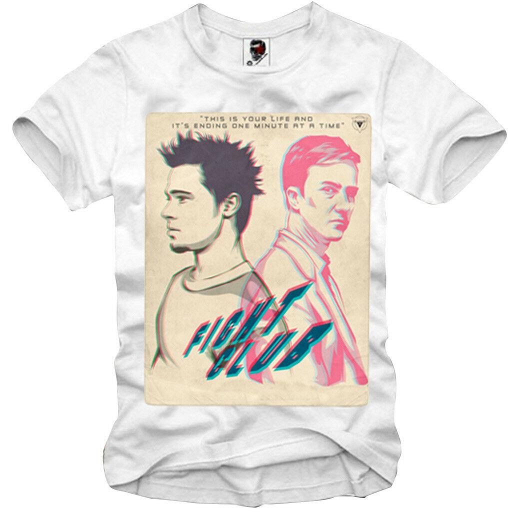 Camiseta E1SYNDICATE FIGHT CLUB BRAD PITT TYLER DURDEN MAYHEM 1913c 100% algodón letra impresa camisetas Top de talla grande