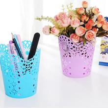 Storage Baskets Lace Hollow out Table Trash Can Pencil Holder Desk Organizer for Office School Home