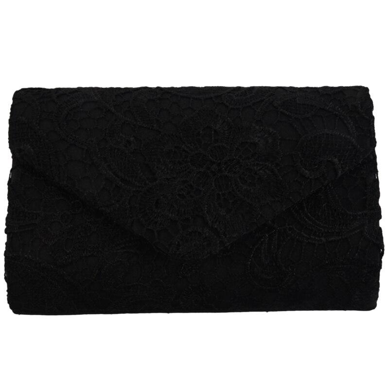 Новый стильный кружевной клатч-конверт, сумка для невесты, дизайнерский женский вечерний Выпускной, черный