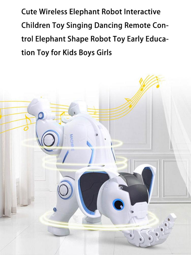 Cute Wireless Elephant Robot Interactive Children Toy Singing Dancing Remote Control Elephant Shape Robot Toy Early Education To enlarge