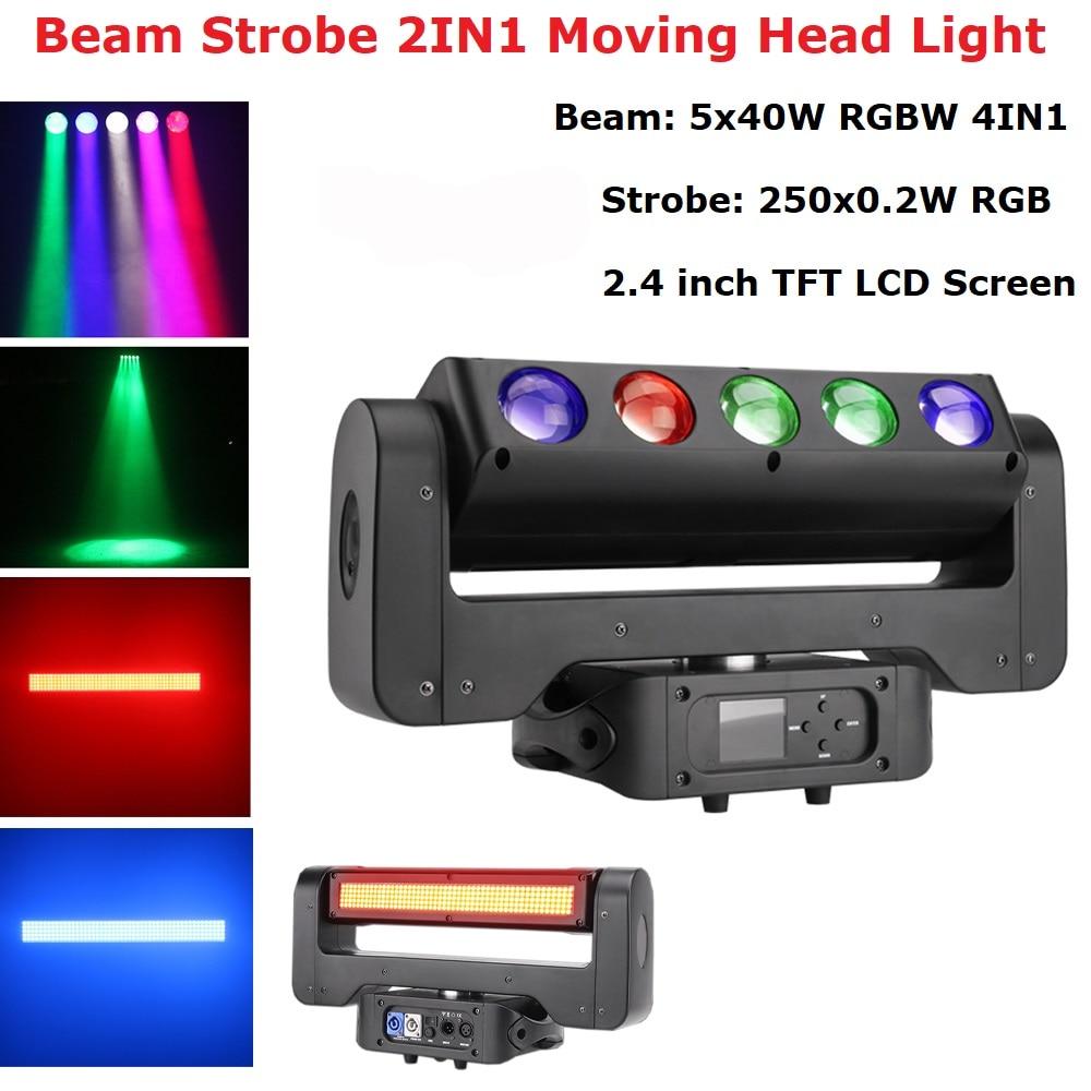 300W LED Lyre cabeza móvil Litght 5X40W RGBW Beam + 250X0,2 W RGB estroboscópico escenario iluminación para Dj Disco noche Club luz fiesta láser