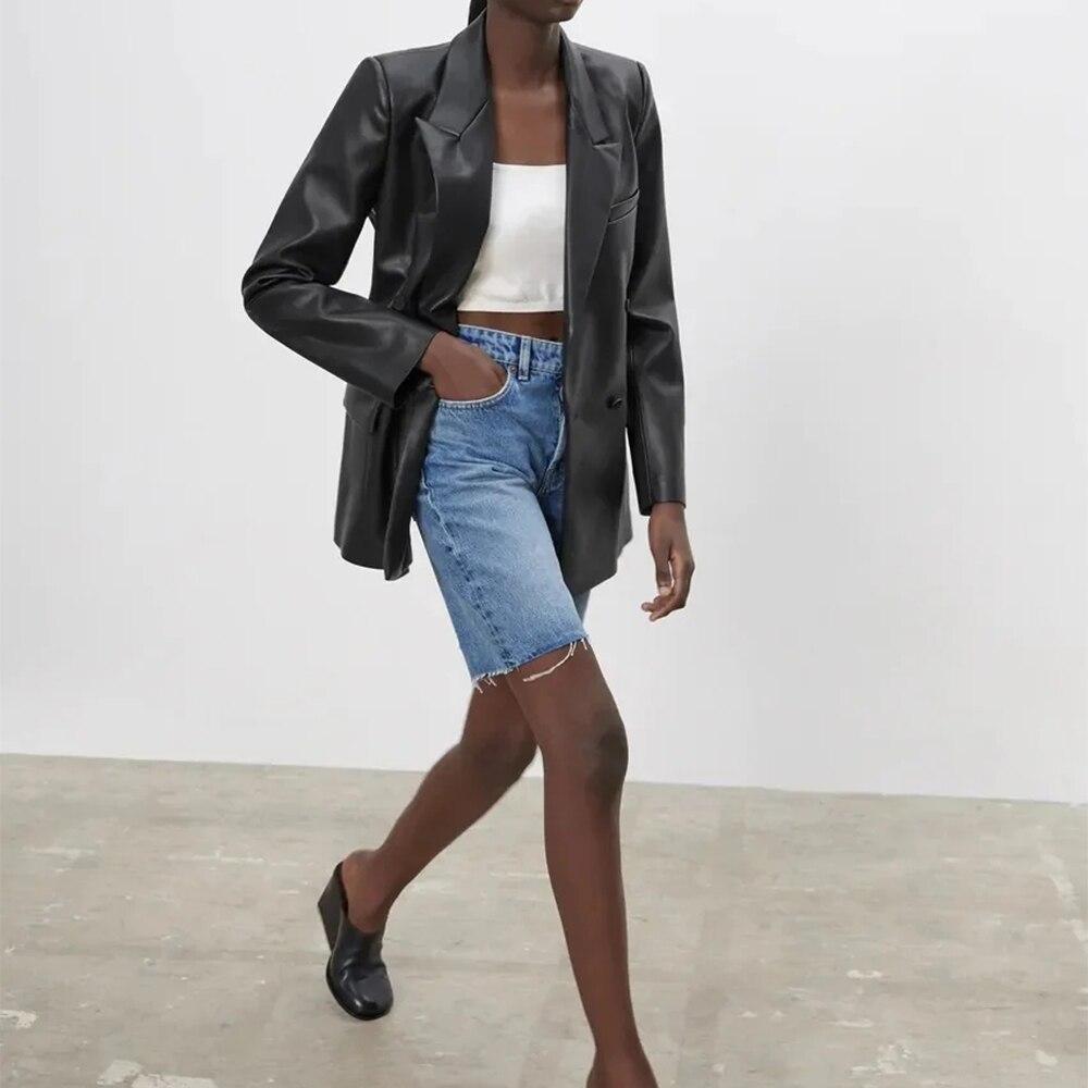 ملابس خارجية من Za جديدة للنساء بأكمام طويلة وسترة بجيوب وخصر مناسبة للخروج سترة من الجلد الصناعي PU