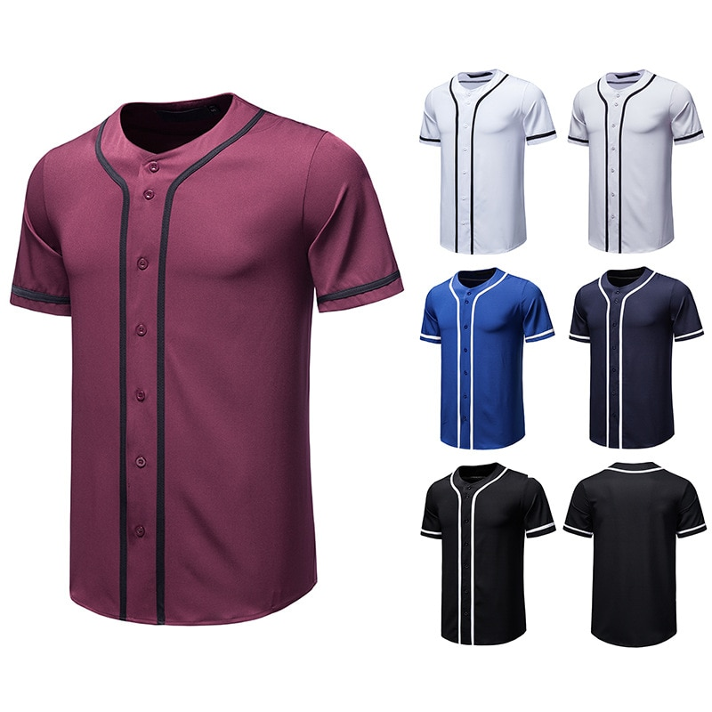 2021 New Baseball Team Shirt For Men Collarless Short Sleeve Dress Shirt Male Top Blouse