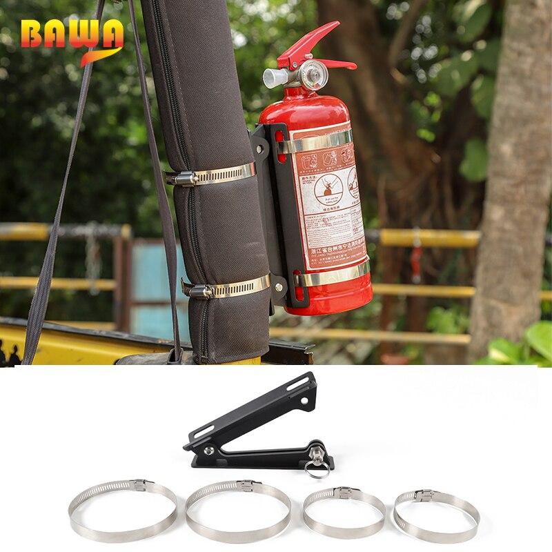 BAWA  Metal Fire Extinguisher Holder Bracket Car Rear Racks Accessories for Jeep Wrangler CJ YJ TJ JK JL 1986-2018