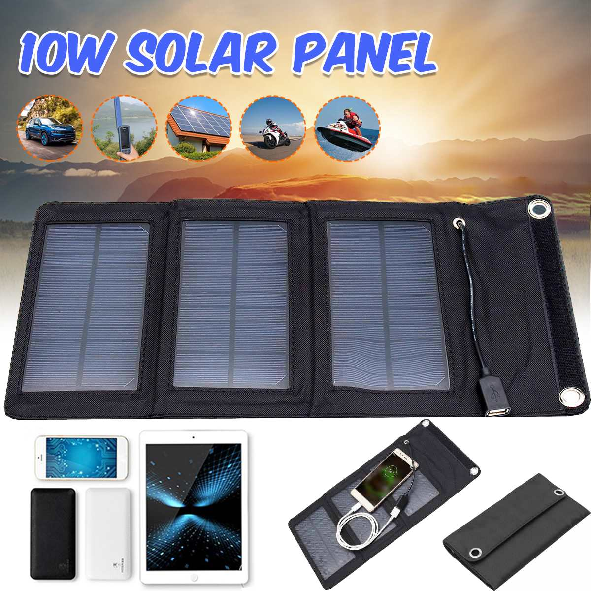 Cargador de Panel Solar plegable de 10W 5V Panel Solar plegable cargador de energía a prueba de agua banco de energía móvil para batería de teléfono puerto USB