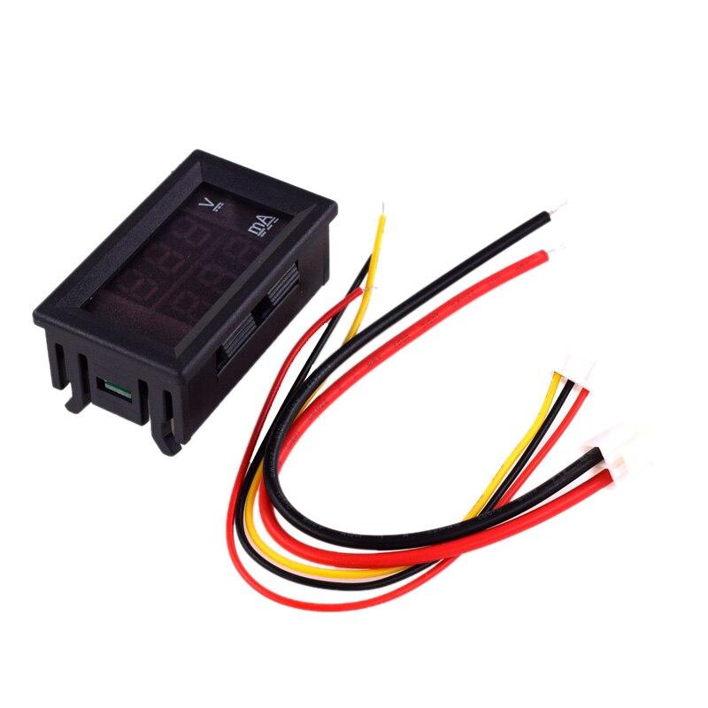 DC 0-100V 1A voltímetro Digital amperímetro pantalla doble Detector de voltaje Panel de medición de corriente amperímetro voltímetro 0,28 pulgadas rojo LED