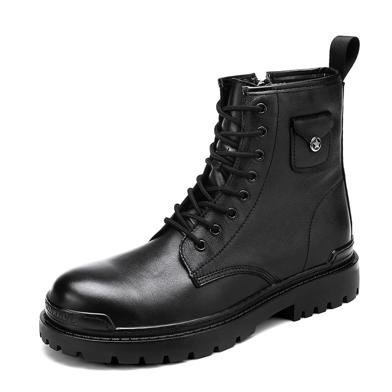Men and women Martin boots leather boot fashion warm snow shoes Dr. motorcycle boots black couple unisex boots 38-45