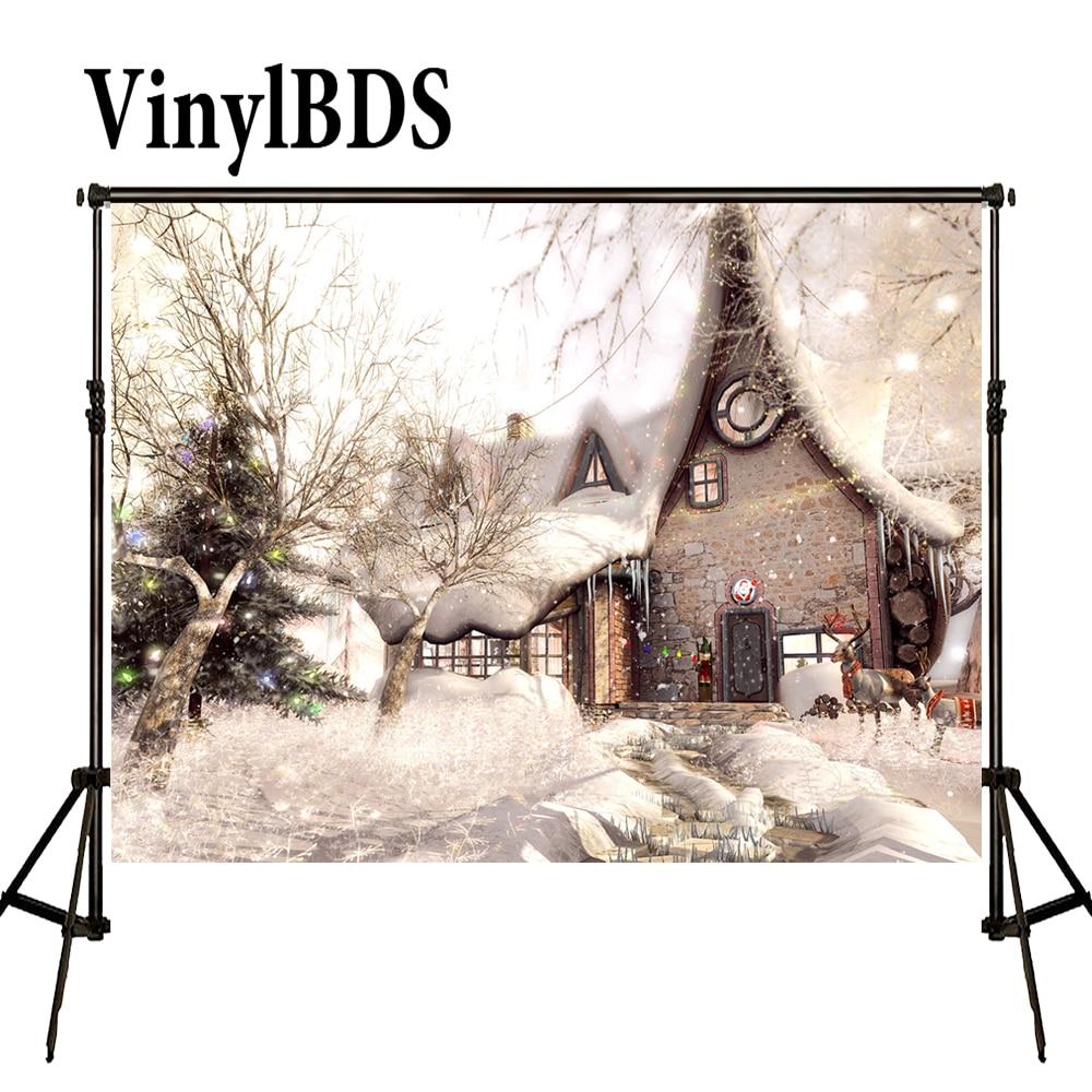 VinylBDS-Fondo de casas de pueblo de Navidad para nieve, fondos de Arbol...