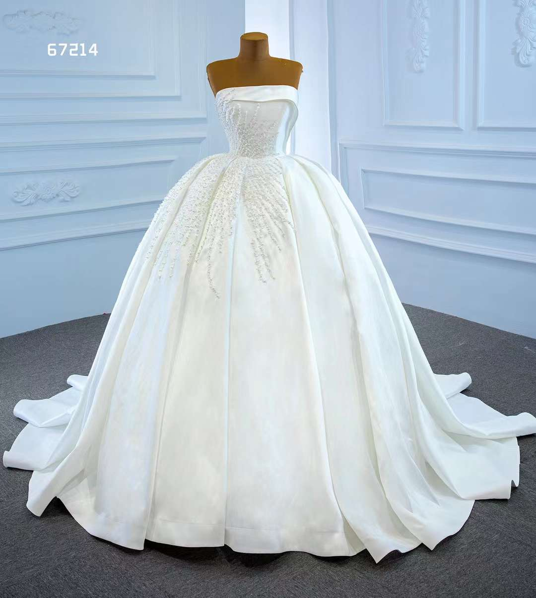 AOLIWEIYA الكرة ثوب حمالة بلا أكمام الساتان مسلم اللؤلؤ الأبيض النقي فستان زفاف للنساء