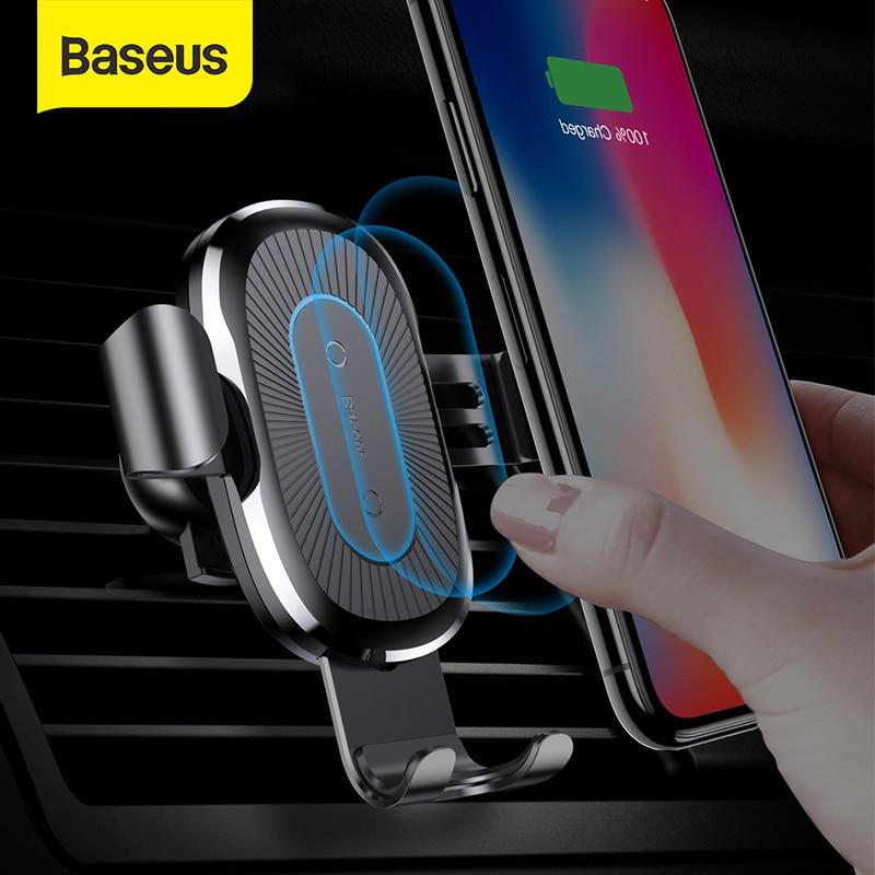 Baseus تشى اللاسلكية شاحن سيارة حامل الهاتف ل فون سامسونج شحن سريع جبل حامل منفذ الهواء الجاذبية دعم 10W تهمة
