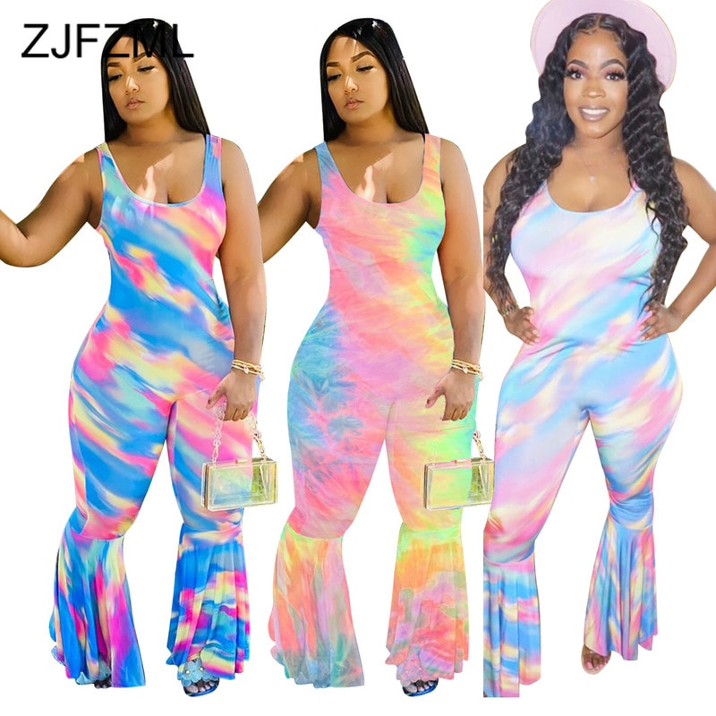 Rainbow Tie Dye Rompers Womens Jumpsuit Women Sexy Round Neck Sleeveless Fitness Bodysuit Summer Club Party Bell Bottom Overall