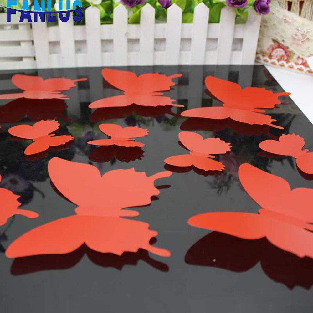 12 шт./компл. наклейки на стену с бабочками DIY домашний декор черная бабочка украшение для гостиной Наклейка на стену креативное украшение для спальни