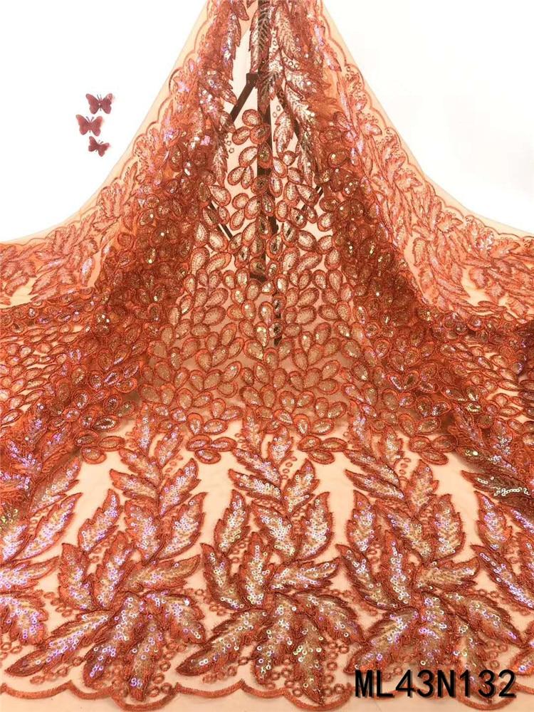 Hermoso encaje naranja francés nigeriano lentejuelas para boda encaje material para vestido lentejuelas bordado tissu ML43N132